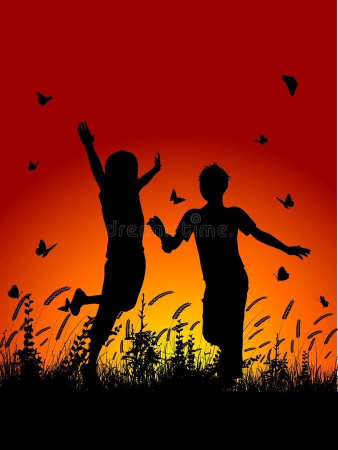 Download Children running outside stock vector. Illustration of play - 20911229