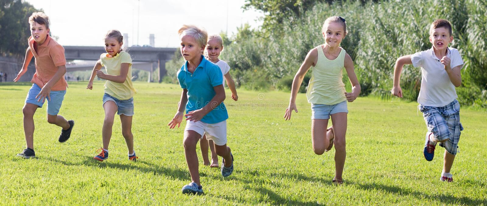 Download children running in park stock image. Image of leisure - 95273361