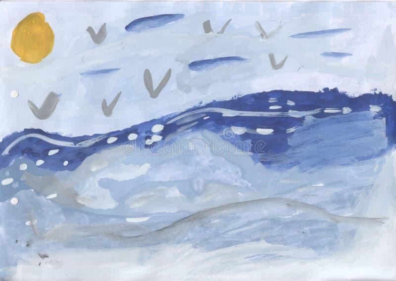 Children rysunek - delfin w morzu royalty ilustracja