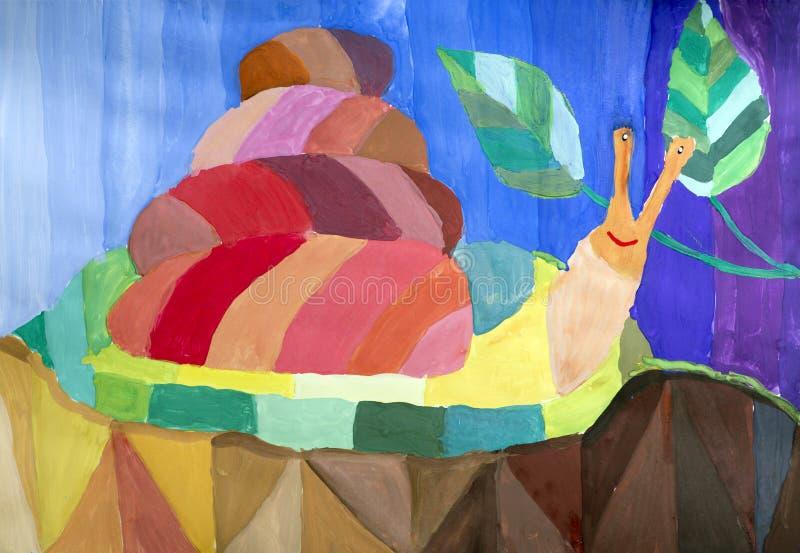 Children rysunku Barwiony ślimaczek ilustracja wektor