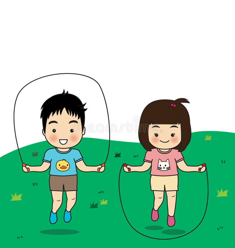 Children's activities. Children exercise jumping rope on lawn vector illustration