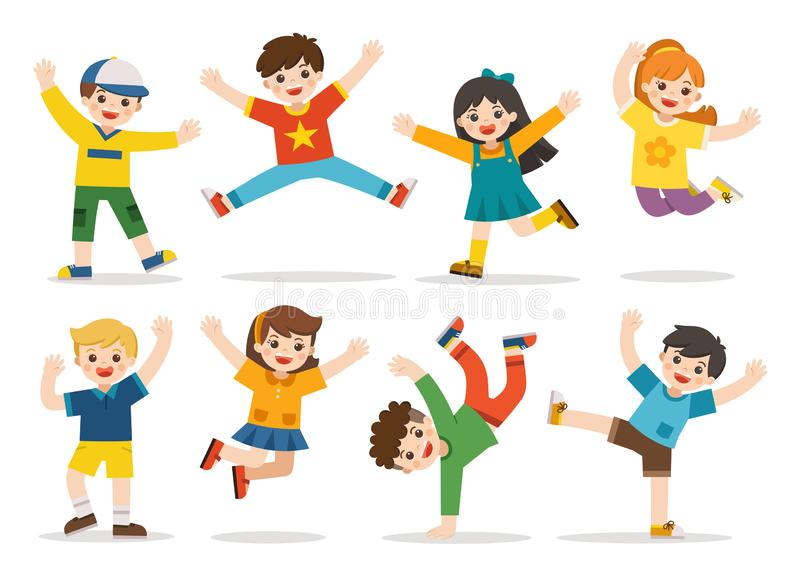 Children`s activities. Happy kids jumping together on the background. Boys and girls are playing together happily. vector illustration