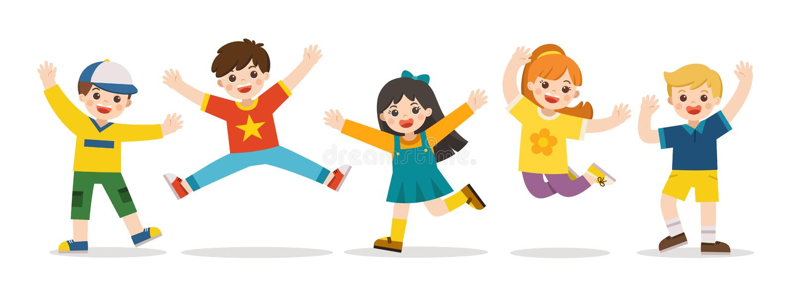 Children`s activities. Happy kids jumping together on the background. Boys and girls are playing together happily. stock illustration