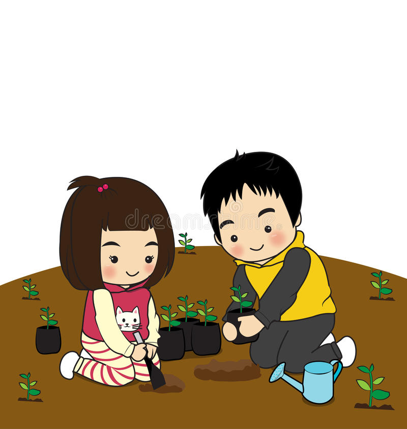 Children's activities. Children planting trees on the ground stock illustration