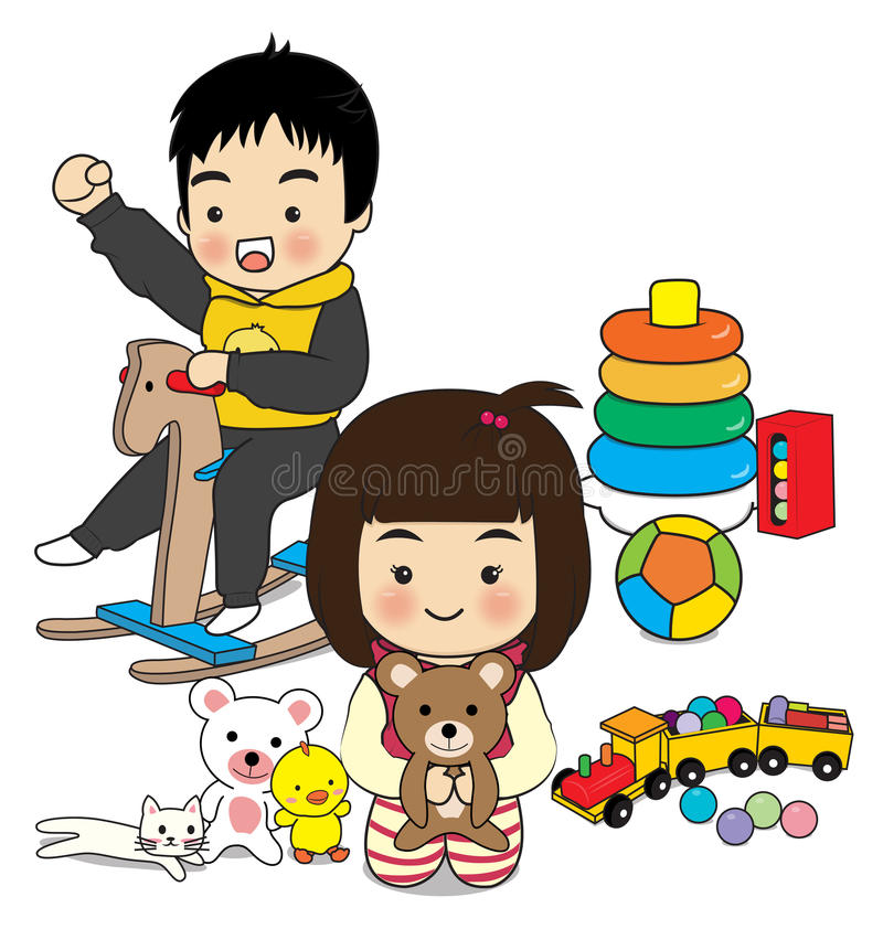 Children's activities. Children play toy on white background vector illustration