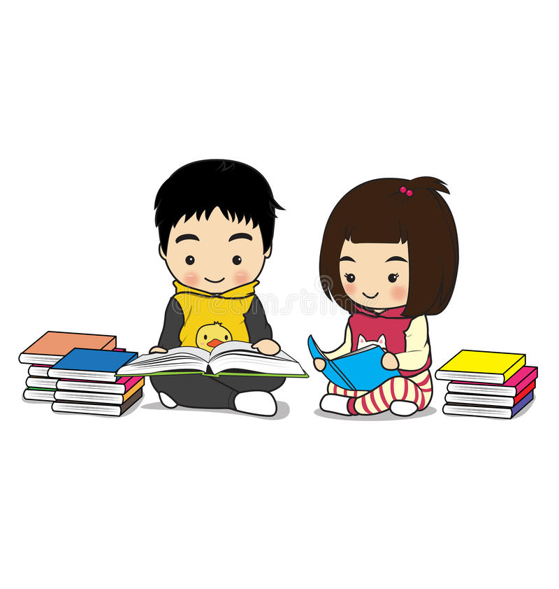 Children's activities. Children reading a book on white background stock illustration