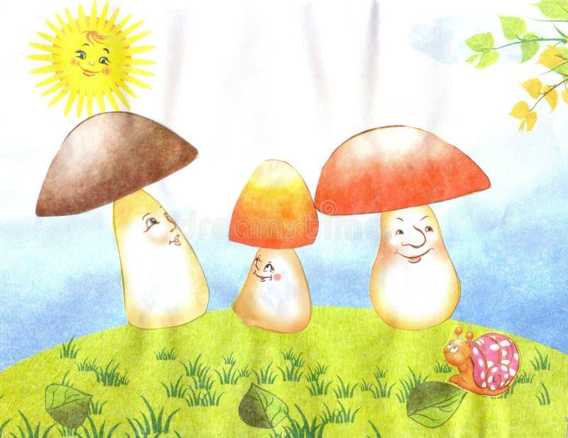 Children`s application mushrooms, sun, snail stock illustration