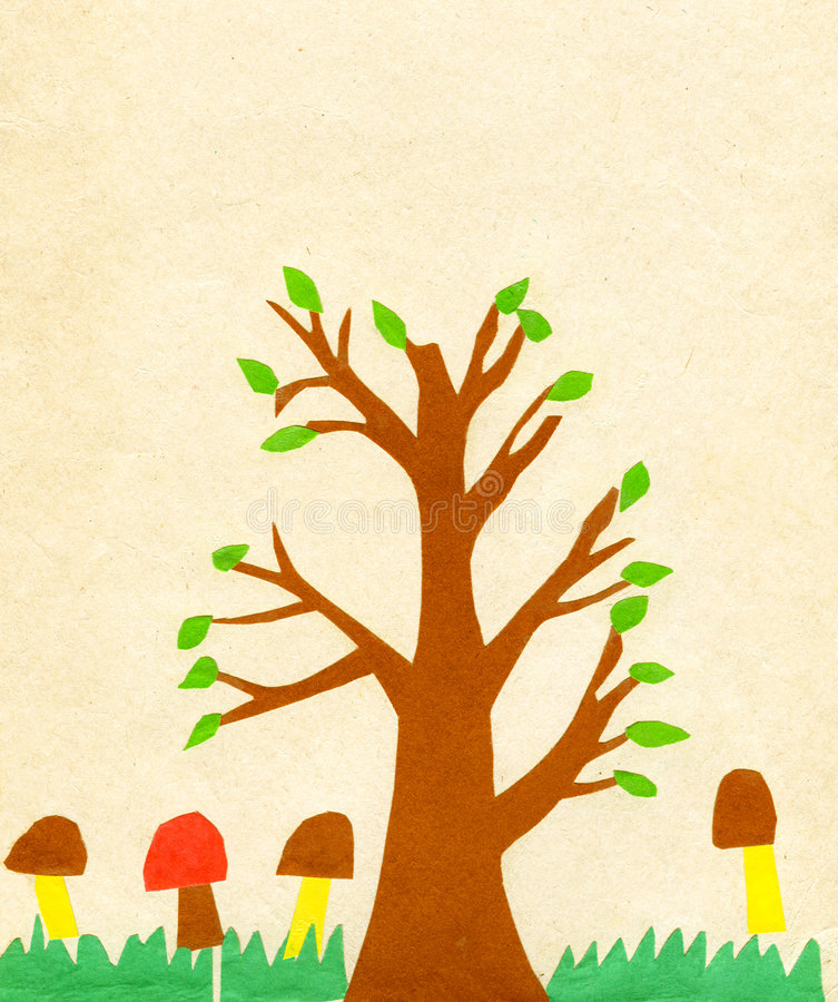 Children S Application Paint Tree Stock Photo