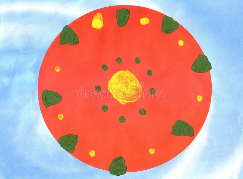 Children`s application red circle vector illustration