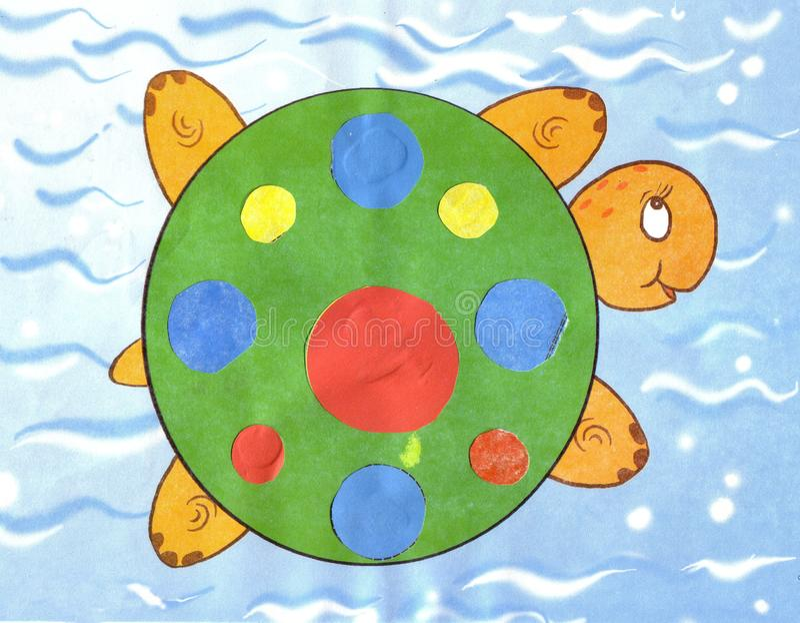 Children`s appliqu colorfull turtle royalty free illustration