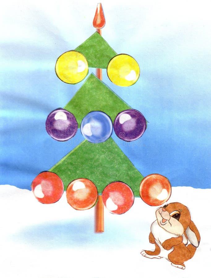 Children`s appliqu hare near the Christmas tree stock illustration