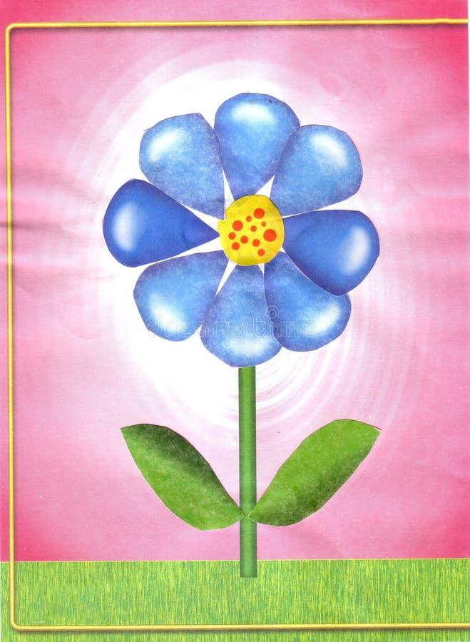 Children`s applique blue flower stock illustration