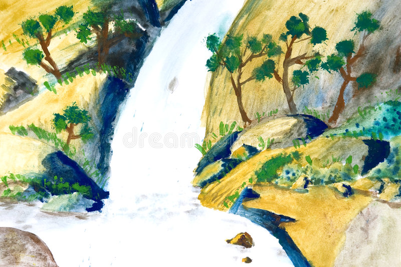 Download Children's Art - Waterfall stock illustration. Illustration of happy - 3603904