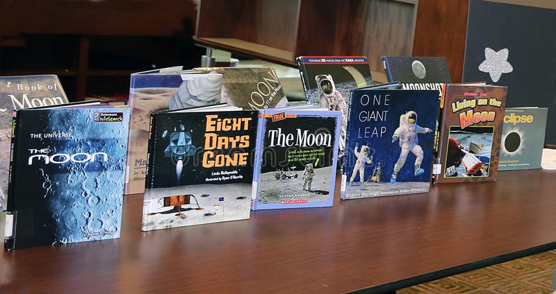 Children`s Astronomy Books. Displayed at Livingston Library before the solar eclipse event. Livingston, NJ royalty free stock photos