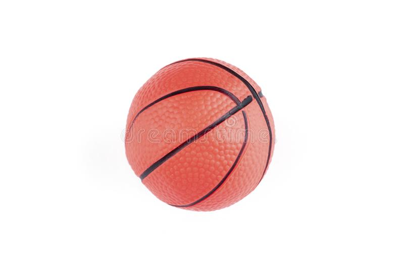 Children's basketball ball isolated on a white background.Copy space. Play textured rubber closeup object game sphere orange sport studio symbol royalty free stock photos