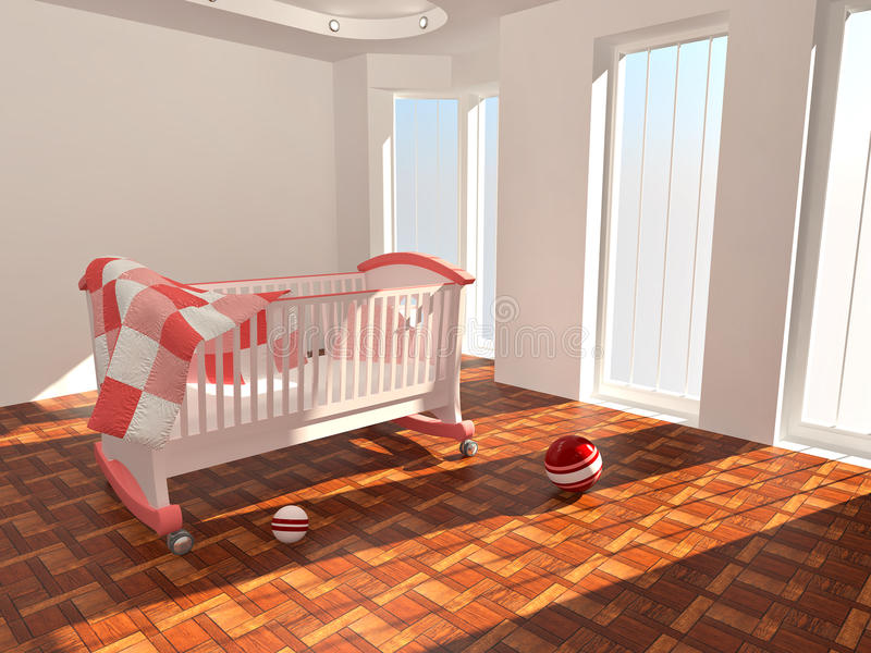 Download Children's Bed In An Empty Room, Lit By Sunlight Stock Illustration - Illustration of image, room: 17075026