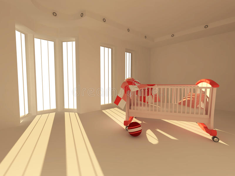 Download Children's Bed In An Empty Room, Lit By Sunlight Stock Illustration - Image: 17294169