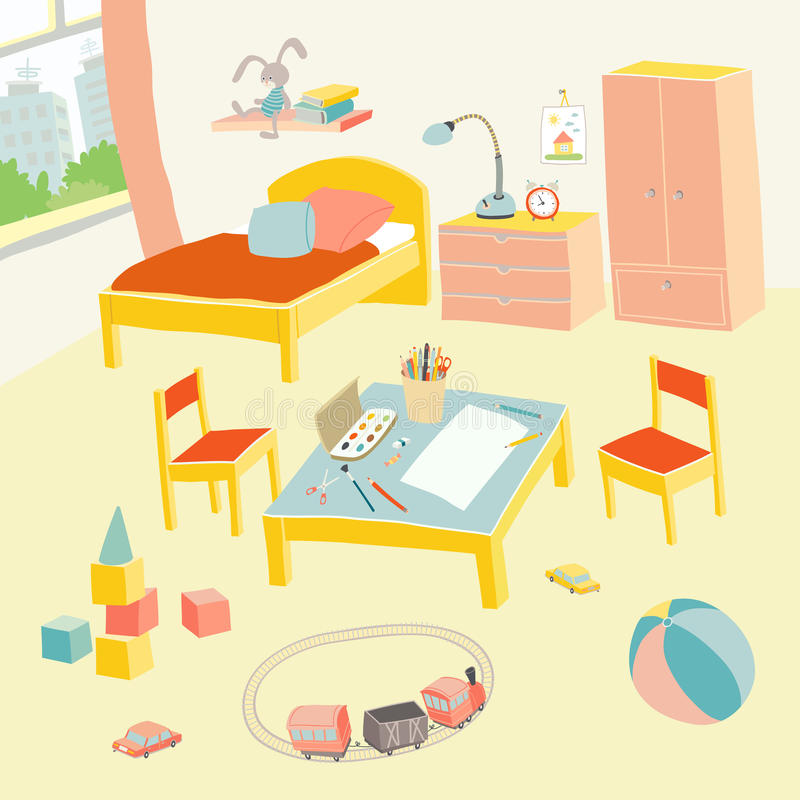 Children`s bedroom interior with furniture and toys. Kids playroom in flat style. Hand drawn cartoon illustration on. White background. Baby shower design vector illustration