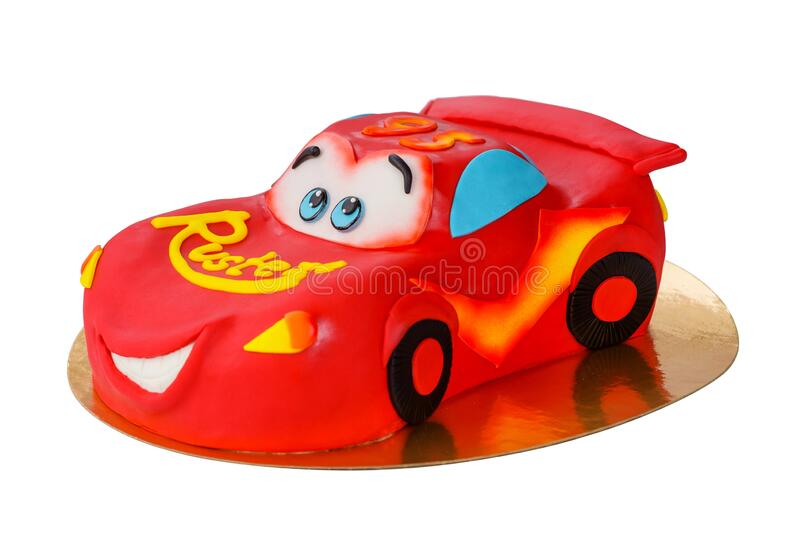 Fine Children S Birthday Cake Cars Lightning Mcqueen On An Isolated Funny Birthday Cards Online Fluifree Goldxyz