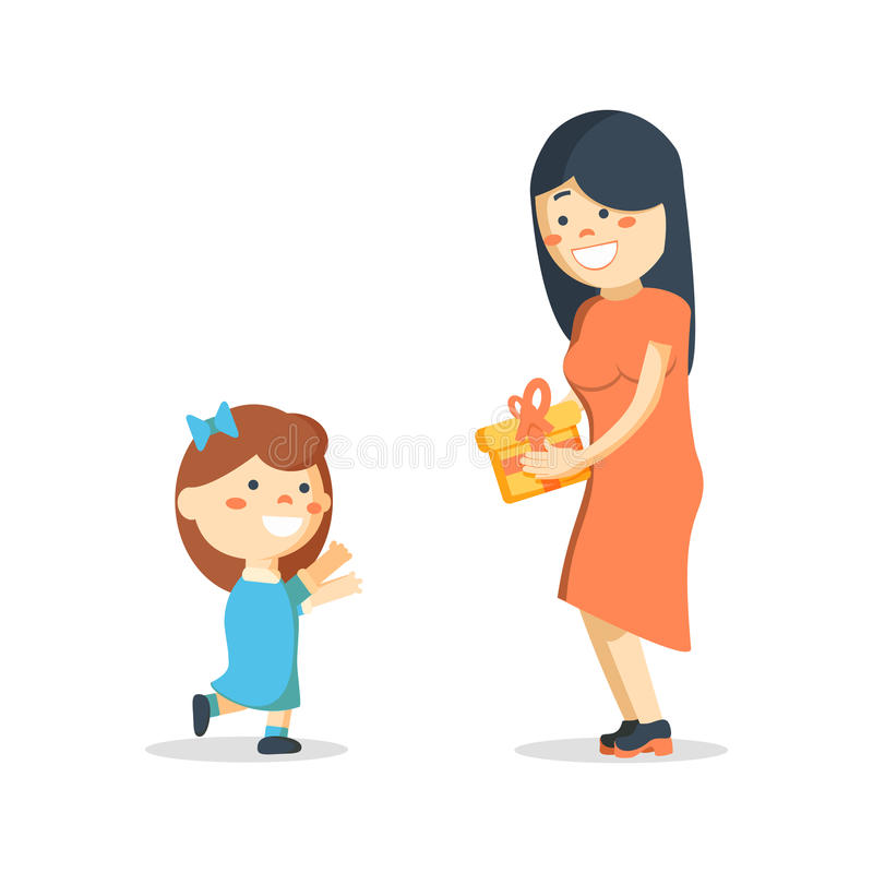 Children`s birthday. Mom gives daughter a present vector illustration