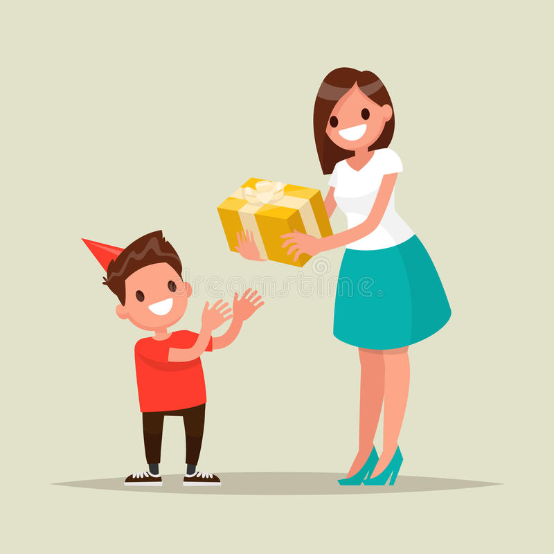 Children's birthday. Mom gives son a birthday present. Vector il royalty free illustration