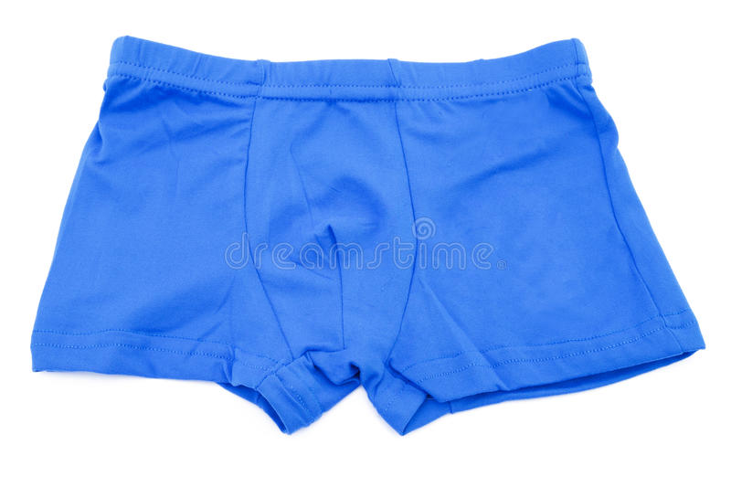 Children's blue swimming shorts isolated on white background. stock images