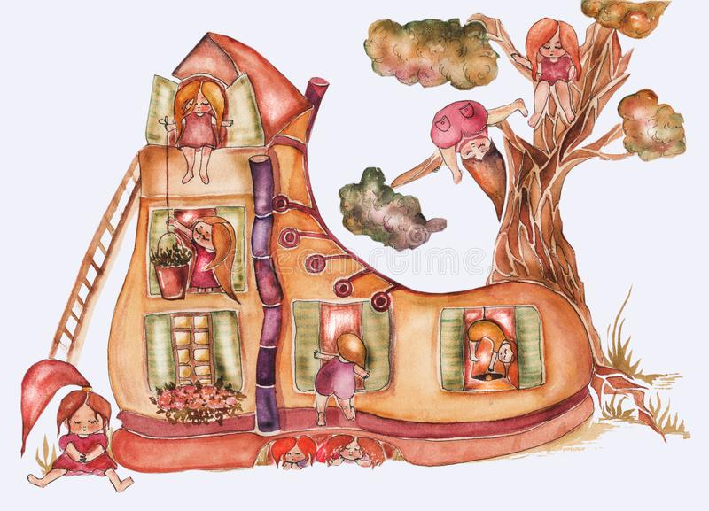 Children`s book illustration. Watercolor cute shoe house with windows, roof and tree behind and a lot of kids, cozy vector illustration