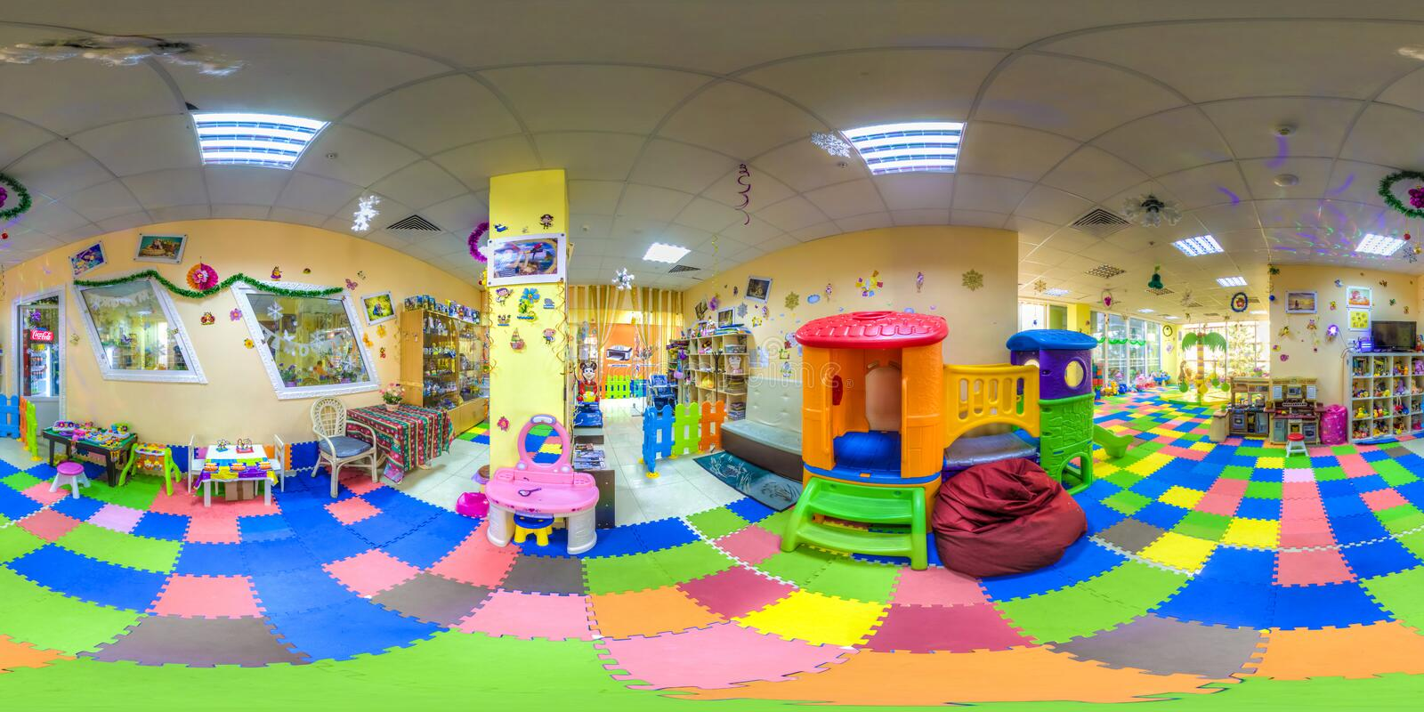 Children`s cafe in the shopping center Melody. The center of Sochi. Spherical Panorama royalty free stock photography