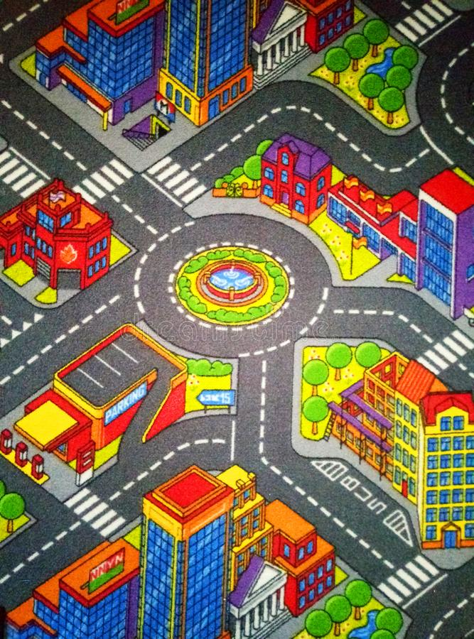 Children`s carpet with roads Big royalty free stock photo