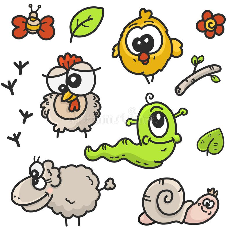 Children`s cartoon drawings set on the theme of the garden with the image of farm animals and plants vector illustration