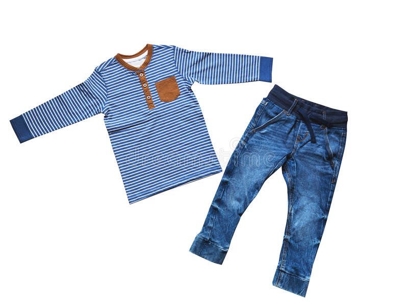 Children's clothes, boy set outfit, concept of child fashion. royalty free stock photography