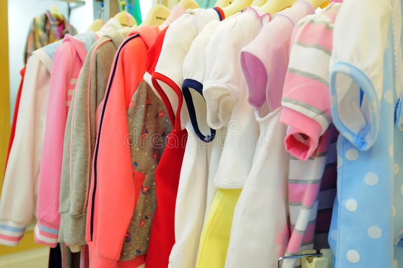 Children's clothing. Image of children's clothes in a clothing store