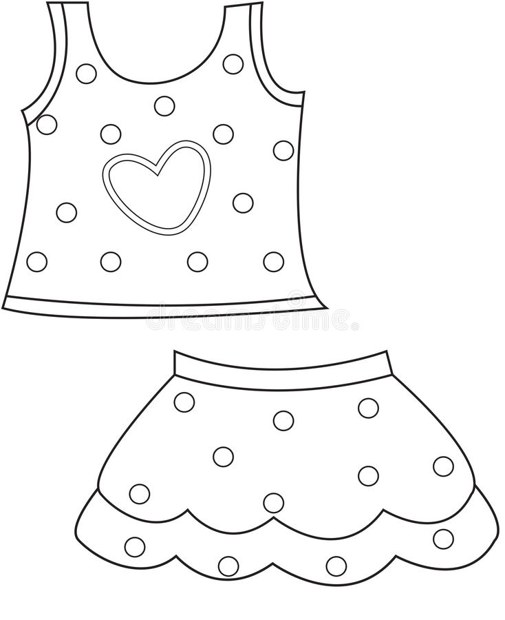 Children\u0027s Clothing Coloring Page Stock Illustration