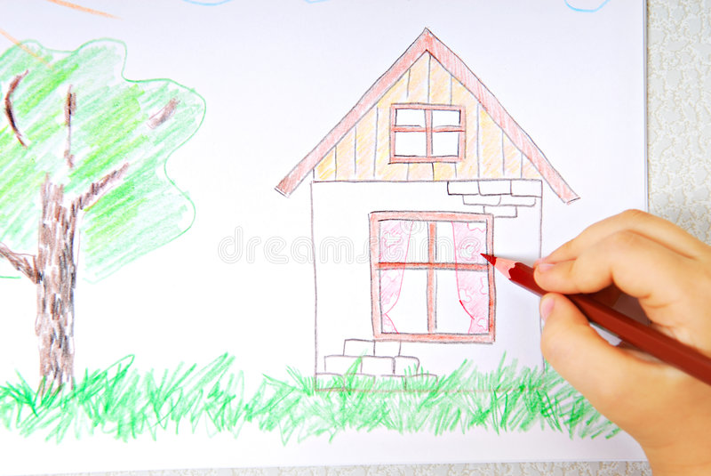 Children's colored drawing stock image
