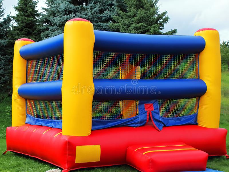 Children`s Colorful Bounce House stock photos
