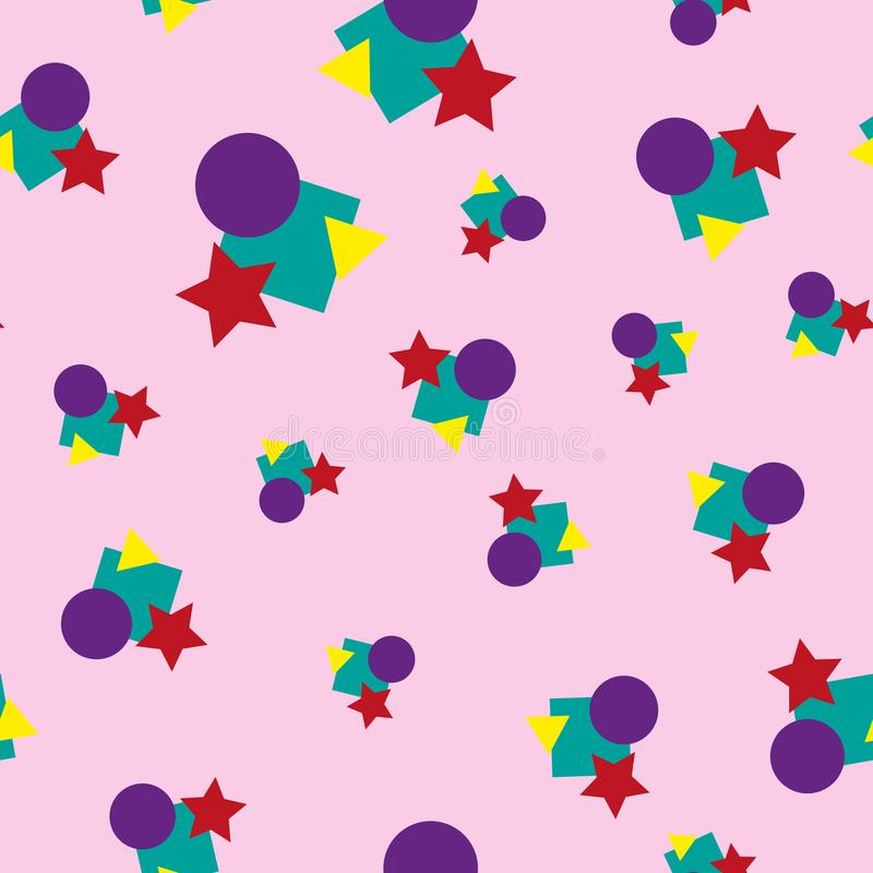 Children`s colorful geometric seamless pattern. Colour vector illustration. stock illustration