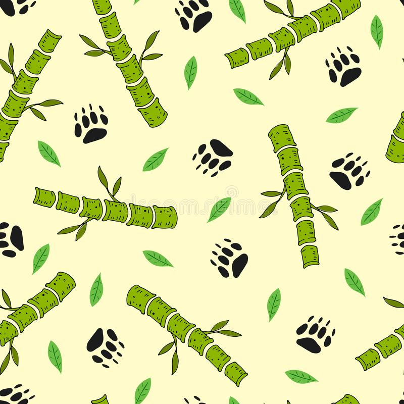 Children`s colorful seamless pattern. vector with cartoon bamboo, leaves, animal tracks on a light neutral background. hand drawin stock illustration