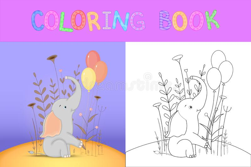 Children`s coloring book with cartoon animals. Educational tasks for preschool children cute elephant.  stock illustration