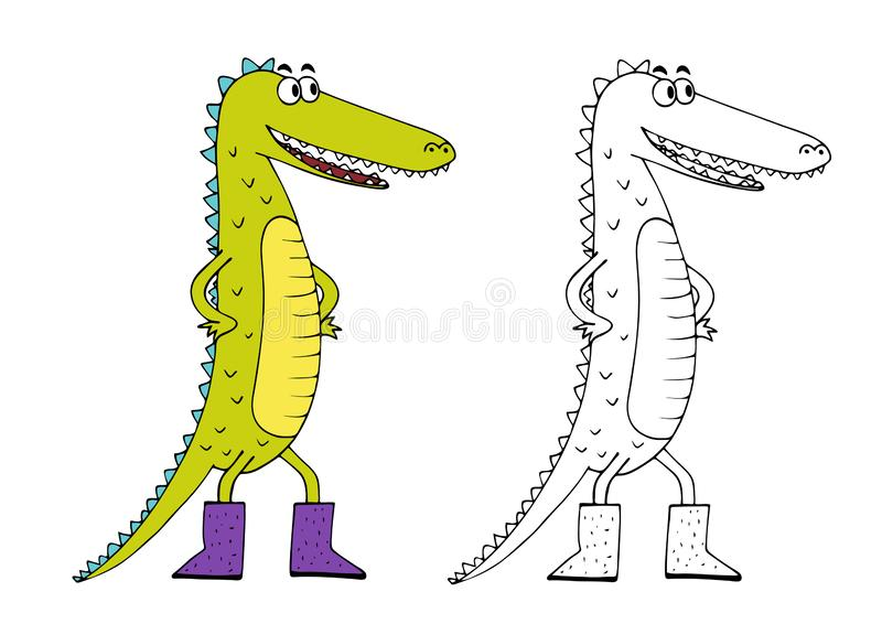 Children`s coloring book character crocodile. Vector image royalty free illustration