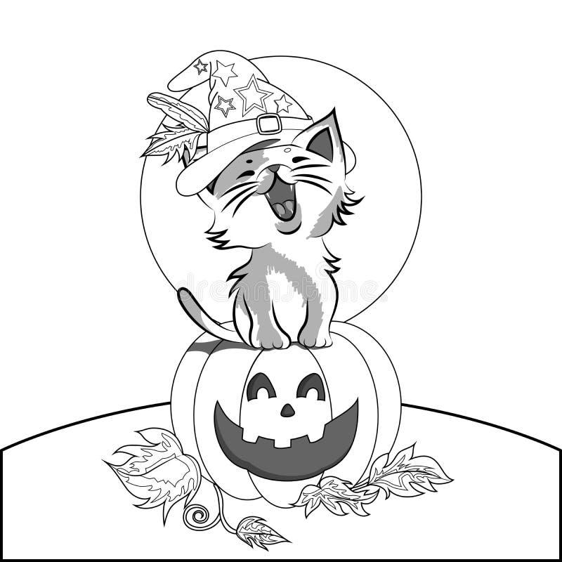 Pumpkin And Cute Cat Coloring Stock Vector - Illustration ...