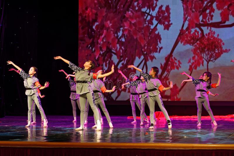The Children`s Corps- Beijing Dance Academy grading test outstanding children`s dance teaching achievement exhibition Jiangxi. Sponsored by the Beijing Dance stock photography