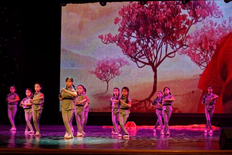 The Children`s Corps- Beijing Dance Academy grading test outstanding children`s dance teaching achievement exhibition Jiangxi. Sponsored by the Beijing Dance stock image