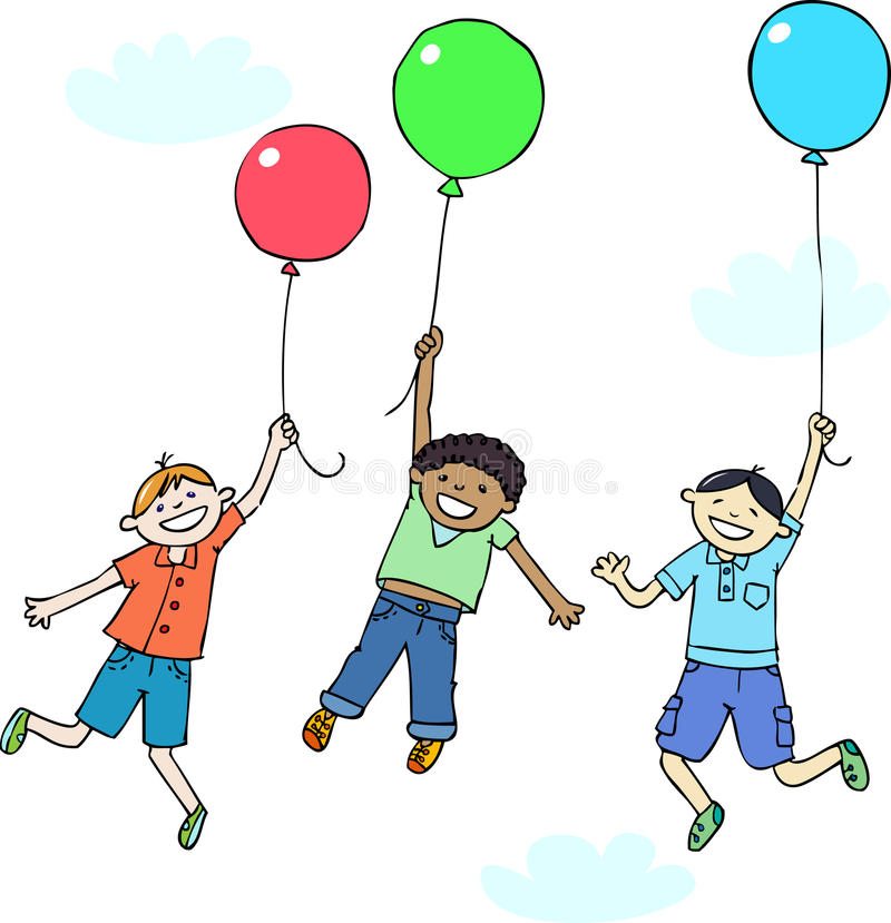 Children's day. Three boys, european, african and asian fly by balloons in the sky royalty free illustration