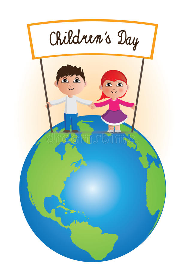Childrens Day on planet royalty free illustration