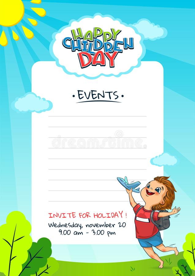 Children`s day Poster invitation template. Happy Universal holiday. The cute little boys launches a toy planes royalty free stock photography