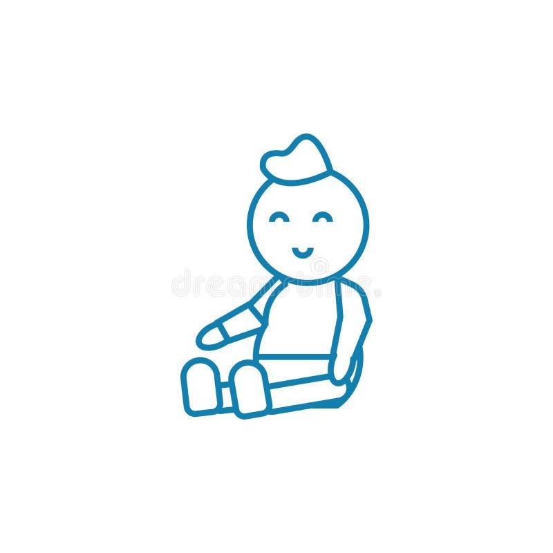 Children`s doll linear icon concept. Children`s doll line vector sign, symbol, illustration. royalty free illustration