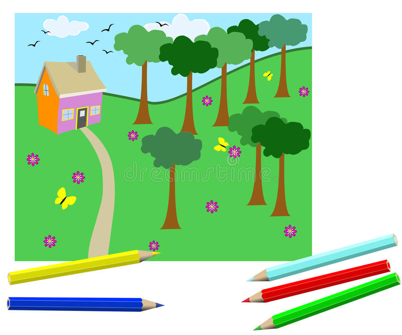 Download Children's drawing stock vector. Image of learn, drawing - 12350495