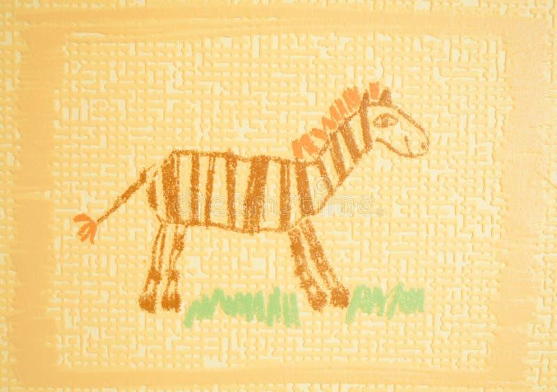 Download Children's drawing stock illustration. Image of zebra - 28607677