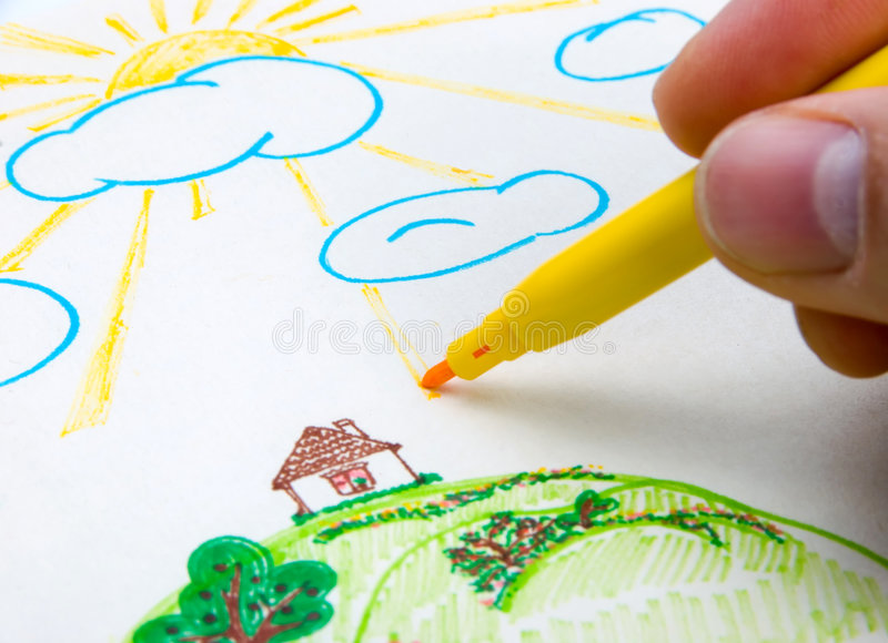 Download Children's drawing stock photo. Image of hand, background - 3597710