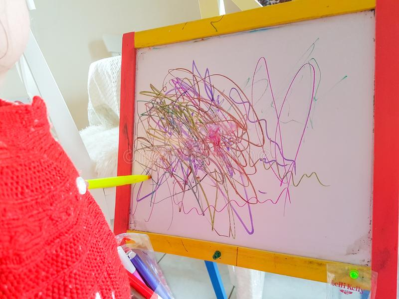 Children s drawing abstract lines preschool age. Colors stock image